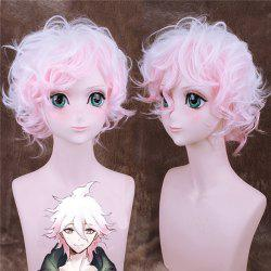 Style de Danganronpa Komaeda Nagito Curly synthétique Ombre couleur perruque cosplay - Multicolore