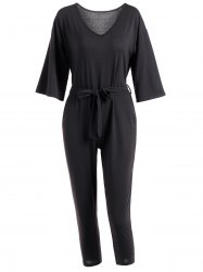 3/4 Sleeves High-Waist Jumpsuit