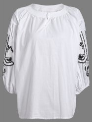 Loose-Fitting Embroidered Blouse -