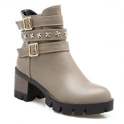 Metallic Buckle Ankle Boots