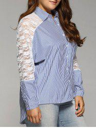 Openwork Lace Spliced Plus Size Stripe Shirt