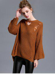 High Low Cut Out Ripped Sweater -