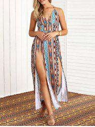 Boho Halter Tribal Print High Slit Maxi Dress