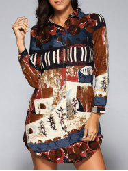Printed Long Sleeve Shirt Dress