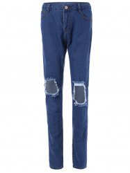 High-Waisted Broken Hole Jeans -