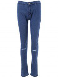 Plain Distressed Skinny Slimming Jeans -