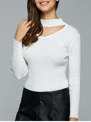Hollow Out Ribbed Knitted Pullover -