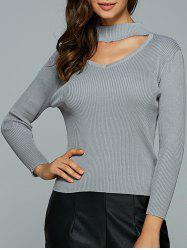 Hollow Out Ribbed Knitted Pullover