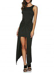 Asymmetric Zip Knotted Long Night Out Dress