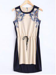 Digital Print Drawstring Sleeveless Plus Size Dress