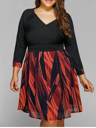 Back Lace-Up Geometry Print Plus Size Dress - BLACK 6XL