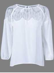 Lace Patchwork See-Through Blouse -