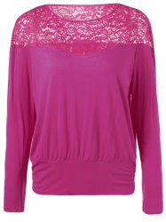 See-Through Lace Patchwork Blouse -
