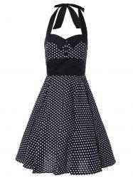 Boutons Halter Polka Dot Dress Vintage - Noir