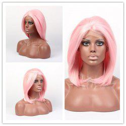 Faddish Medium Straight Lace Front High Temperature Fiber Wig - SHALLOW PINK