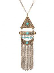 Faux Turquoise Fringe Crescent Sweater Chain -