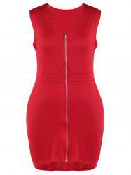 Plus Size Zip Front Flying V Neck Bodycon Dress -