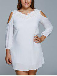 Plus Size Cold Shoulder Mini Shift Dress