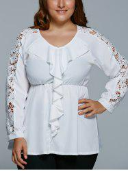 Plus Size Lace Spliced Flounce Blouse - WHITE