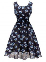 Retro Chiffon  High Waisted Flower Dress -