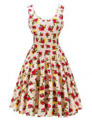 Retro Style Knitted Floral Dress -