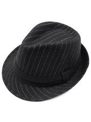 Pure Color Striped Belt Wool Fedora Hat - BLACK