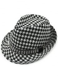 Houndstooth Keep Warm Wool Belt Buckle Rivets Jazz Hat - BLACK
