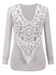 Two-Sides Wear See Through Crochet Top - LIGHT GRAY M