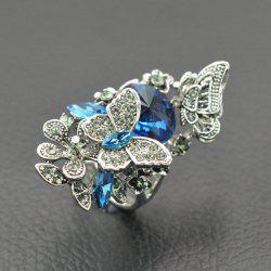 Hollow Rhinestone Butterfly Finger Ring - BLUE