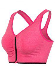 Genie Padded Racerback Zipper Front Running Sports Bra - ROSE RED L