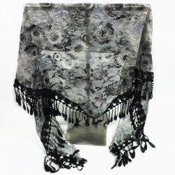 Feather Pendant Flower Pattern Trim Lace Triangle Scarf