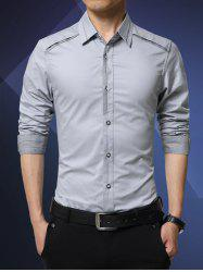 Slim-Fit Turn-Down Collar Spliced Shirt