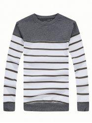 Crew Neck Color Blocked Striped Sweatshirt - GRAY 3XL