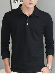 Brief Style Long Sleeve Polo Shirt - BLACK