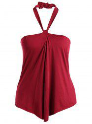 Halter Bandeau Padded One-Piece Swimwear - WINE RED 3XL