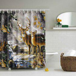 Waterproof 3D Nature Deer Design Printing Shower Curtain - COLORMIX