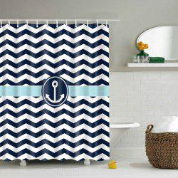 Anchor Wave Stripe Waterproof Bathroom Shower Curtain -