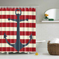 Waterproof Anchor Stripe Pattern Bathroom Shower Curtain -