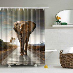 Thick Waterproof Elephant Sunset Bathroom Shower Curtain - BROWN L