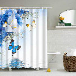 Waterproof Flower Butterfly Polyester Shower Curtain -