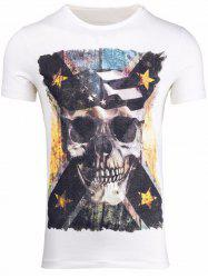 Skull 3D Print Round Neck Short Sleeve T-Shirt -