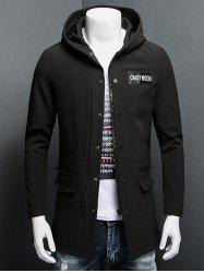 Patch Design Zippered Snap Button Hooded Coat