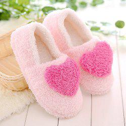 Colour Block Heart Pattern Fur Slippers - ROSE RED