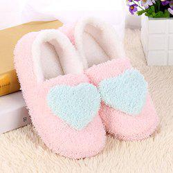 Colour Block Heart Pattern Fur Slippers - LIGHT BLUE
