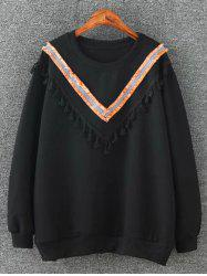 Round Neck Fringed Sweatshirt - BLACK