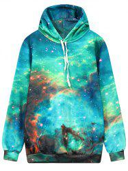 Hooded Front Pocket Galaxy Hoodie - MULTI L