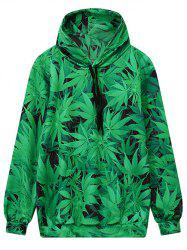 Hooded Front Pocket Leaf Print Green Hoodie