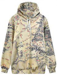 Hooded Front Pocket Map Print Hoodie
