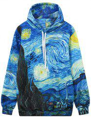 Front Pocket Abstract Print Outerwear Hoodie -