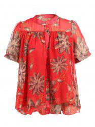 Stand Neck Short Sleeve Printed Chiffon Shirt -